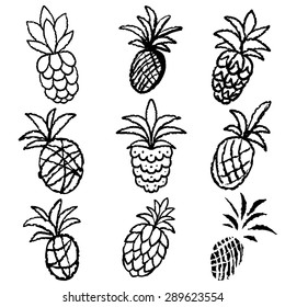 Pineapples set black lines, hand drawn sketch icons isolated on white background, art logo design