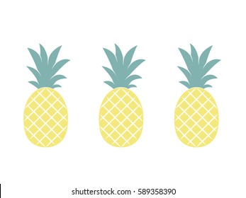 Pineapples. Tropical fruits isolated on white background. Exotic fruits. Flat Vector illustration.