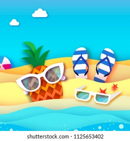 Pineappple. Ananas in paper cut style. Origami Healthy food. Summertime. Sea and beach. Sport ball game. Sunglasses. Flipflop shoes. Vacation and travel concept.