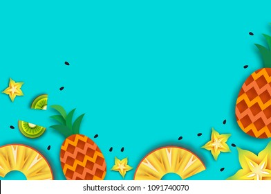 Pineappple, carambola, kiwi. Ananas and starfruit. Summer in paper cut style. Origami juicy ripe slices. Healthy fresh food on blue. Summertime.