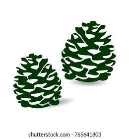 Pinecone Dark green , silhouette, cartoon on white background, vector