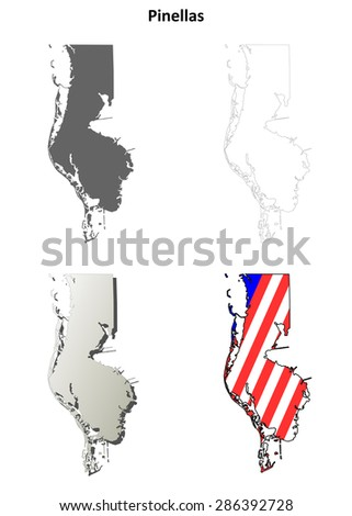 Florida Map By County.Pinellas County Florida Outline Map Set Stock Vector Royalty Free