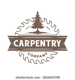 Pines Evergreen Conifer tree with Circular Saw Blade for Sawmill Carpentry Woodwork Vintage Retro logo design