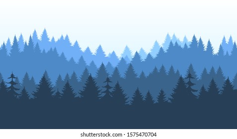 Pines forest panorama pattern. Pine and spruce outdoor horizon banner repeating background, vector conifer trees silhouettes landscape, blue woods nature horizontal seamless pattern