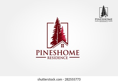 Pines Home Residence Logo Template. Vector illustration of pines tree that incorporate with house picture, it's good for real estate logo, it's try to symbolize residence or real estate.