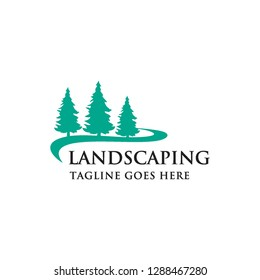 pines tree forest and road landscape logo icon vector template
