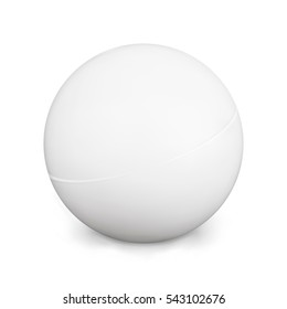 Ping Pong Ball. White Photo Realistic 3d Ball With Shadow. Isolated On White Background. Activity Game. Table Tennis. Vector Illustration