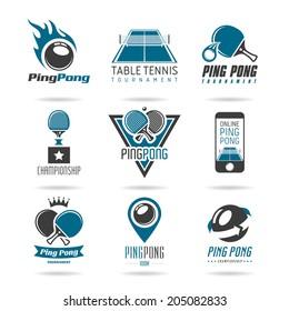 Ping pong icon set - 2