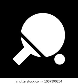 Ping pong icon. White icon on black background. Inversion