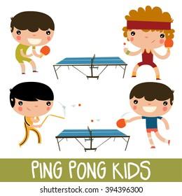 ping pong kids set. character playing table tennis with nunchuks.
