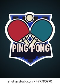 Ping Pong logotype. Ping-pong icon. Vector table tennis logo, label, sticker or symbol.