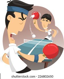 Ping pong match vector cartoon illustration