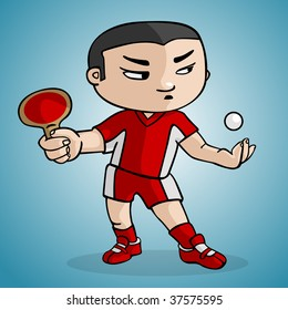 A ping pong player draw in cartoon style