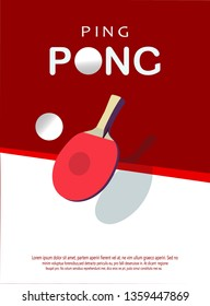 Ping pong Poster Template. Table and rackets for ping-pong. Vector illustration