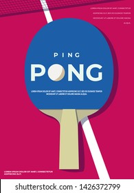 Ping pong Poster Template. Table and rackets for ping-pong. Vector illustration EPS10