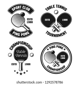 Ping pong set of four vector vintage emblems, labels, badges, logos isolated on white background