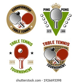 Ping pong or table tennis set of four vector colored emblems, labels, badges, logos isolated on white background