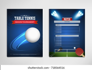 Ping Pong or table Tennis tournament. poster or banner vector template design.