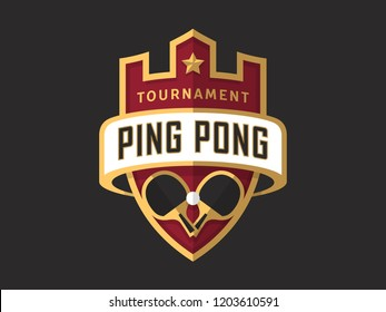 Ping Pong tournament sport logo template. Modern vector illustration. Badge design.