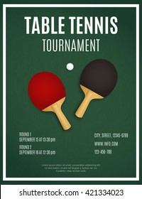 Ping Pong Tournament. Table Tennis background. Two  Ping pong rackets on green table. Table Tennis Poster Design vector template