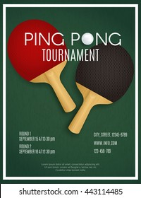 Ping Pong Tournament. Two rackets on green table. Poster Design vector template