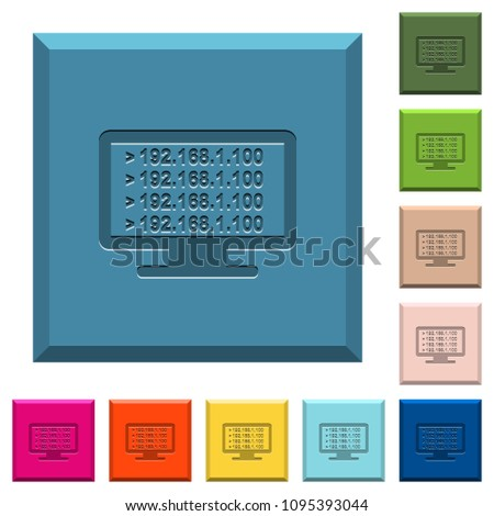 Ping Remote Computer Engraved Icons On Stock Vector (Royalty