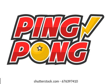 Ping-pong competition big creative promotional logotype isolated illustration