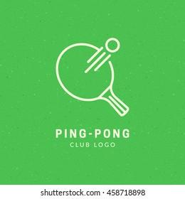 """Ping-Pong"" minimal logo design. Line art illustration. Vector eps10."