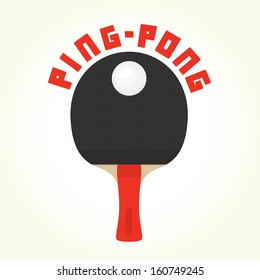 Ping-pong racket and ball isolated vector illustration