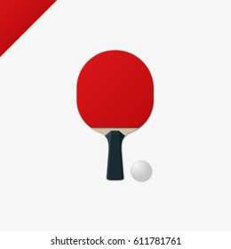 Ping-pong racket and ball realistic vector illustration.