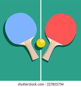 Ping-pong rackets and balls . vector/icons