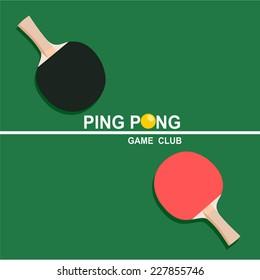 Ping-pong rackets and balls . vector/icons