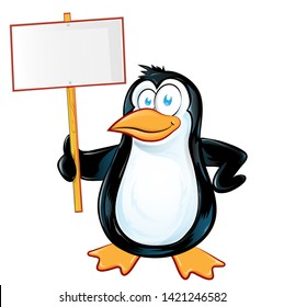 pinguin character cartoon with signboard