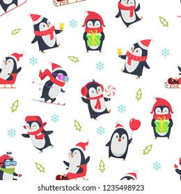 Pinguin seamless pattern. Cartoon textile design with vector illustration of winter snow wild cute animal in various action pose
