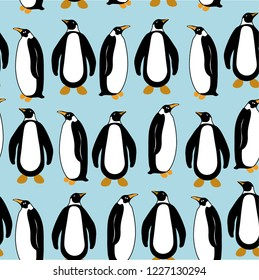 pinguine seamless animals vector pattern