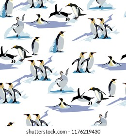 pinguins seamless pattern. pinguins seamless pattern, winter. vector background. This pattern is suitable for winter clothes
