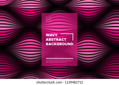 Pink 3d Background with Wave Stripes. Distortion of Space. Trendy Abstract Poster with Vector Lines. Movement Effect. Wavy Colorful 3d Surface. Flow 3d Background with Optical Illusion for Design.