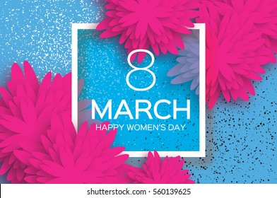 Pink 8 March. Floral Greeting card. Happy Women's Day. Paper cut flower holiday background with square Frame and space for text. Origami Trendy Design Template. Happy Mother's Day. Vector illustration