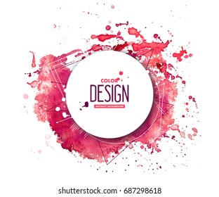 Pink abstract aquarelle background with geometric pattern and place for text. Hand drawn watercolor stains, splashes and drops on white. Template for covers, flyers, banners, posters, placards