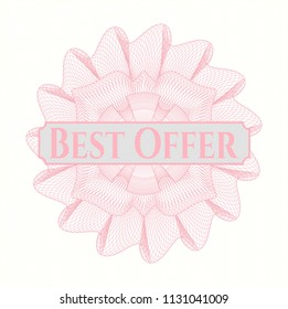 Pink abstract linear rosette with text Best Offer inside