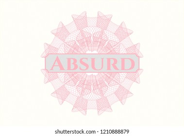 Pink abstract linear rosette with text Absurd inside