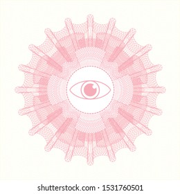 Pink abstract rosette with eye icon inside