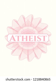 Pink abstract rosette with text Atheist inside