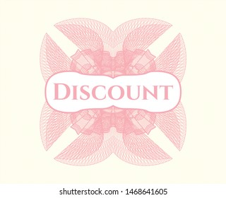 Pink abstract rosette with text Discount inside
