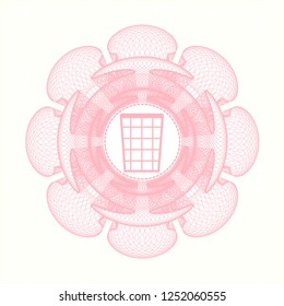 Pink abstract rosette with wastepaper basket icon inside