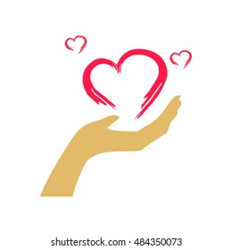pink abstrak love shapes on a light brown hand. giving love logo vector.