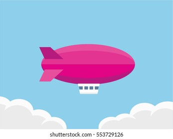 Pink airship flying on blue sky with clouds background, vector flat design style dirigible illustration