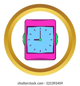 Pink alarm clock vector icon in golden circle, cartoon style isolated on white background