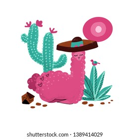 Pink alpaca kid hand drawn illustration. Llama or alpaca print clipart design for nursery design, poster, birthday greeting card. Cute Lama lying in sombrero with big cactus, plants, stones, sun, bird