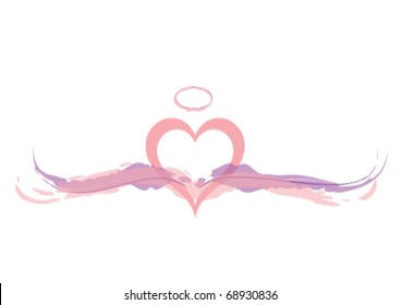 Pink Angel Heart with Wings and Halo.eps 10